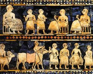 Mesopotamie histoire protohistoire  alimentation etendard ur repas banquet fete