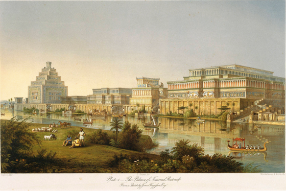 Reconstitution palais Nimrud calah Londres XIX assyria british museum mesopotamie assyrie