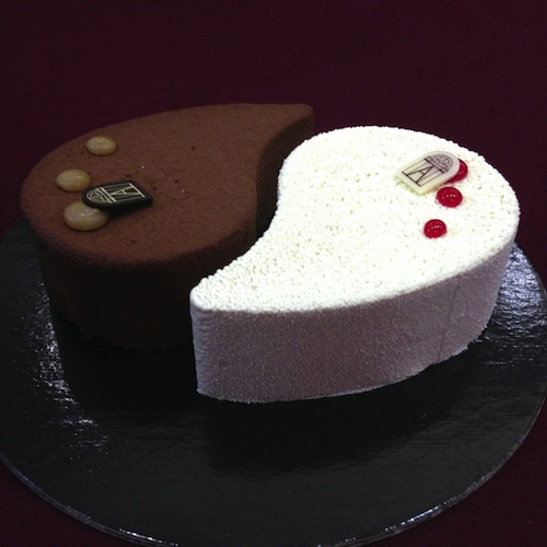 Menu Saint Valentin gateau salon thé angelina ying yin yang creation chocolat framboise meringue celine aime